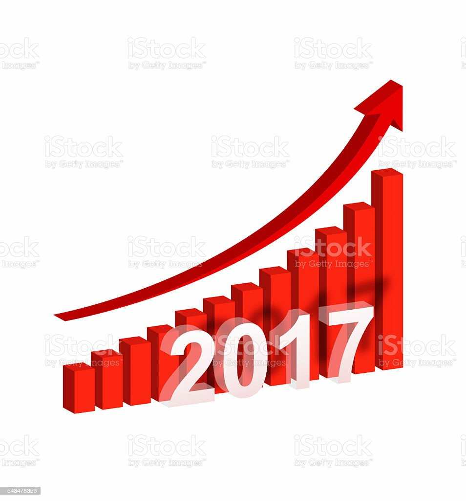 [Clipping path] Year 2017 Growth Chart isolated on white background stock photo