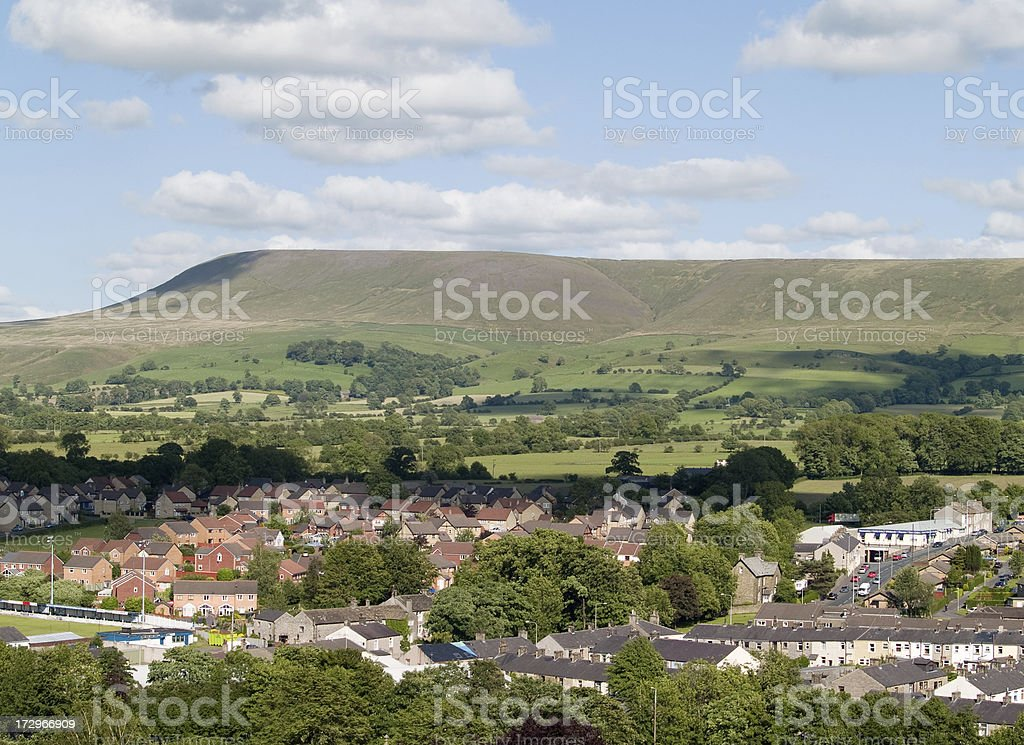 Clitheroe and Pendle Hill stock photo