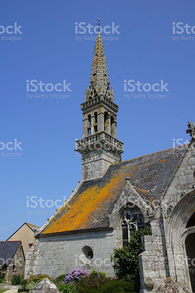 Clocher d'une ?glise en Bretagne stock photo