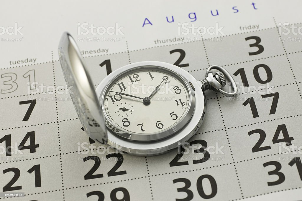 Clock and a calendar royalty-free stock photo