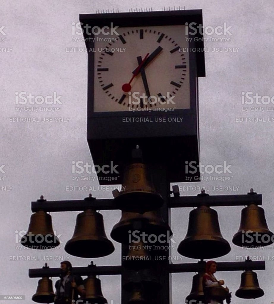clock and bells stock photo
