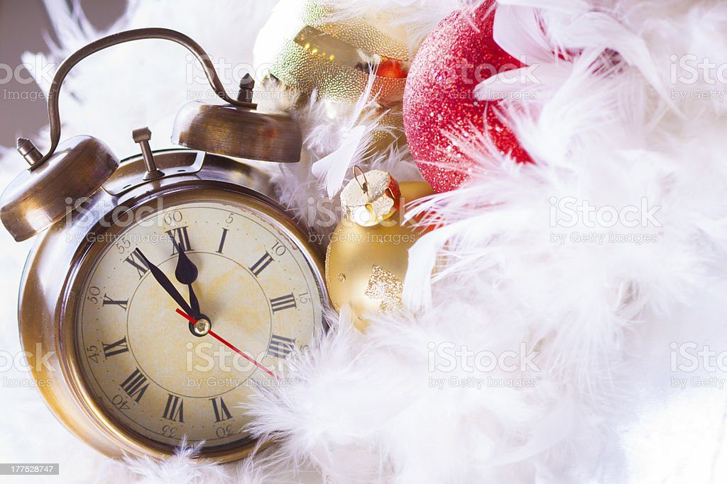 Clock and christmas balls - holiday background royalty-free stock photo