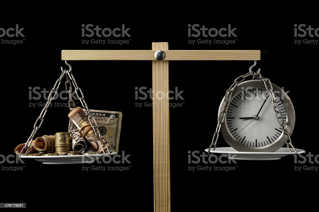 Clock and Currency Time is Money Concept stock photo