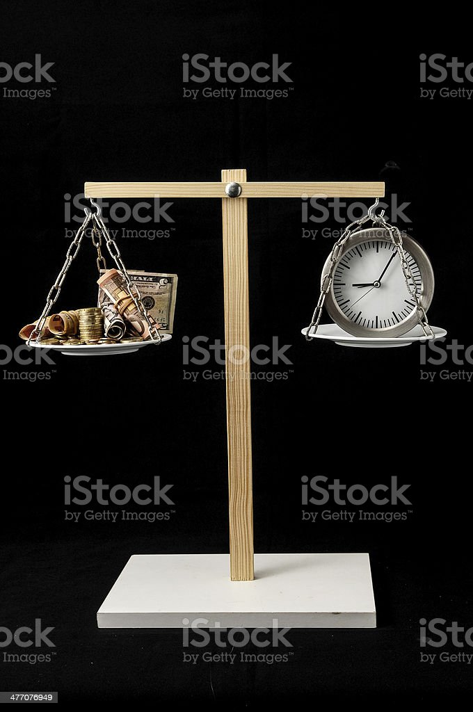 Clock and Currency Time is Money Concept royalty-free stock photo