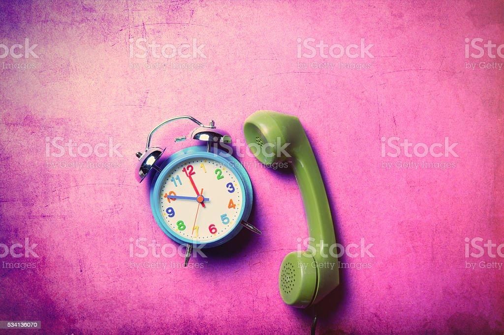clock and handset stock photo