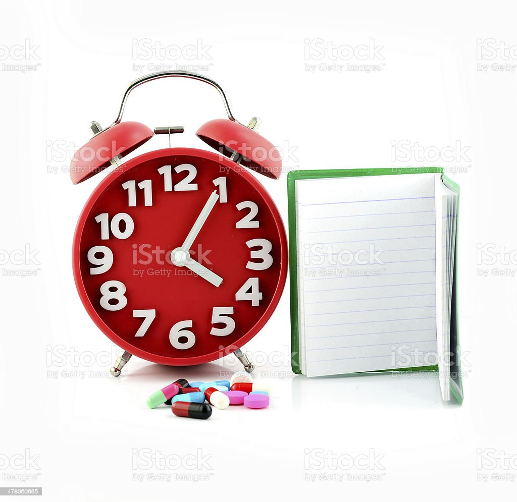 clock and pills , for healthcare, medicine royalty-free stock photo