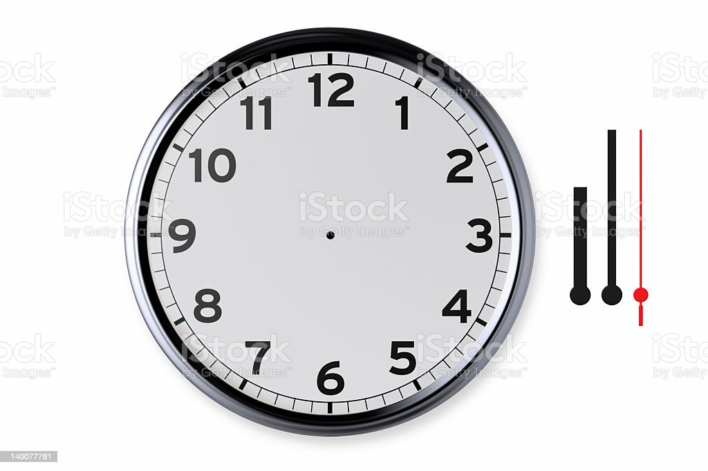 Clock And Separated Hands With Clipping Path royalty-free stock photo