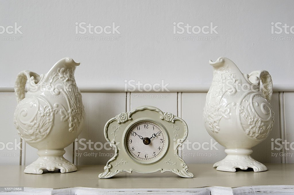 Clock and vase stock photo