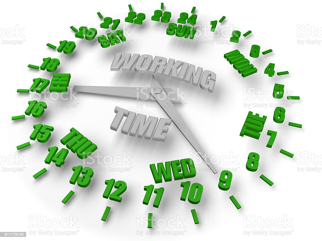 Clock Around 24 Hours 7 Days, Business Service Working Time stock photo