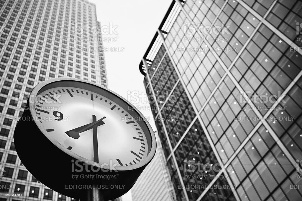 Clock at Canary Wharf in London, UK royalty-free stock photo