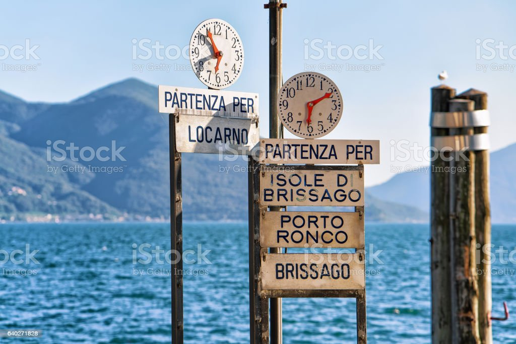 Clock at Pier of Ascona resort of Ticino canton Switzerland stock photo