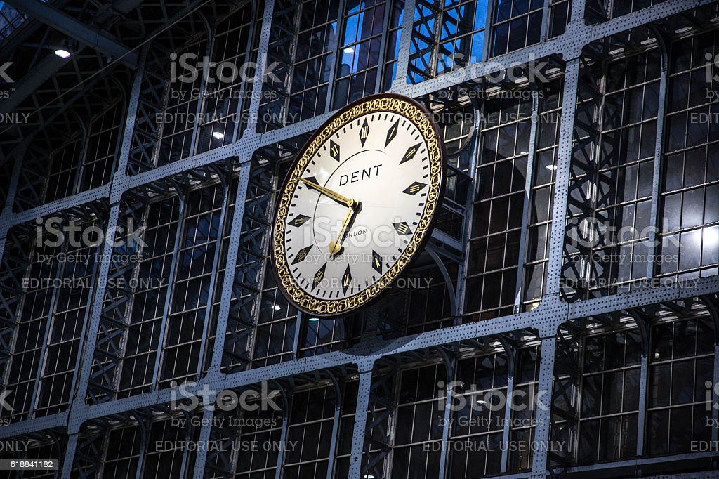 Clock at St. Pancras International Station, London stock photo