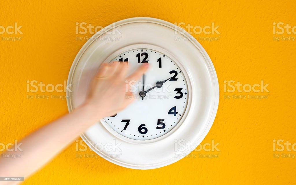 Clock at the wall stock photo