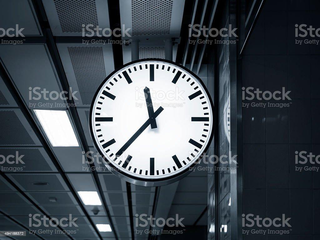 Clock at Train Station stock photo