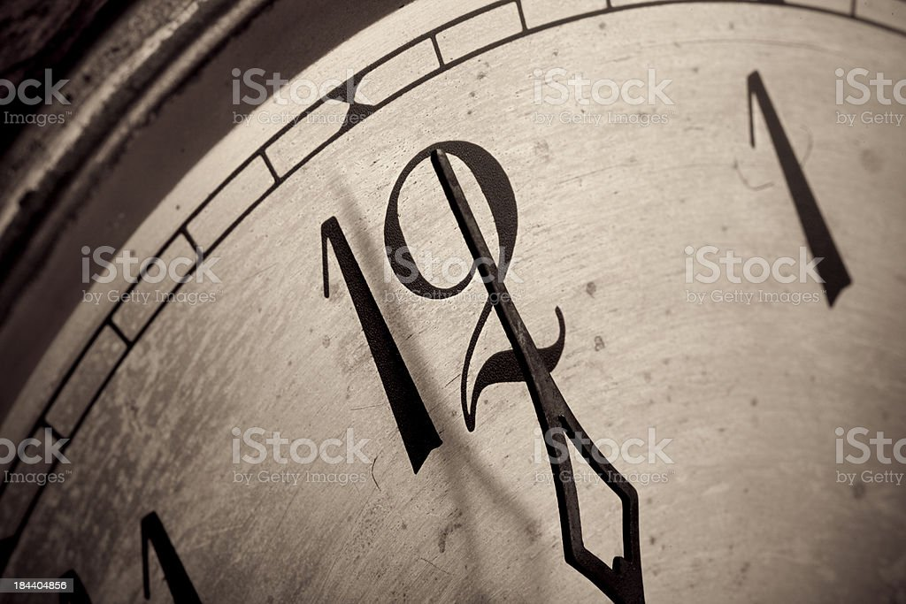 Clock closeup showing 12 oclock stock photo