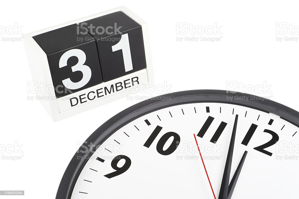 Clock Counts Down to December 31 New Year's Eve Midnight stock photo