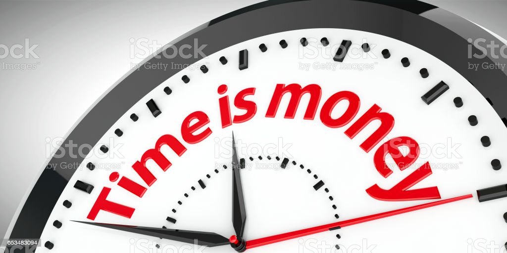 Clock dial Time is money stock photo
