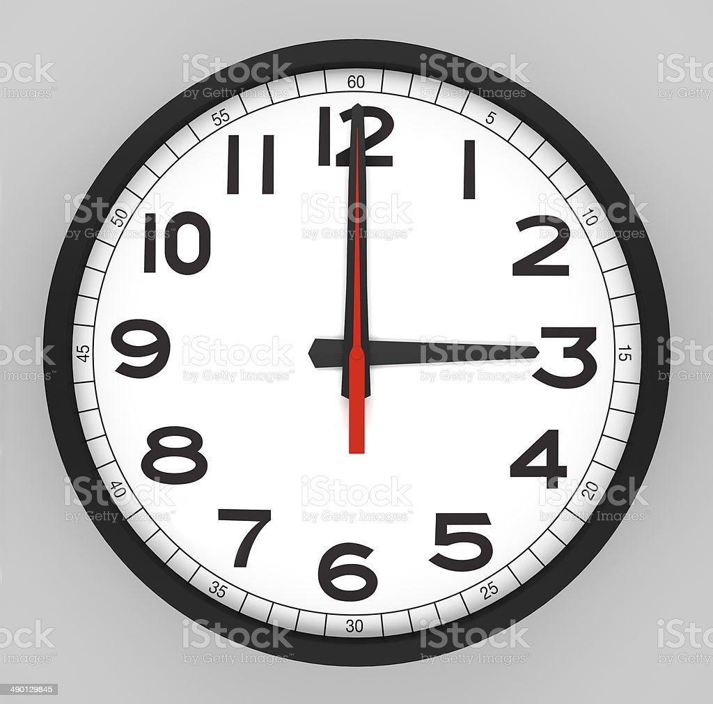 Clock Face 3 o'clock stock photo