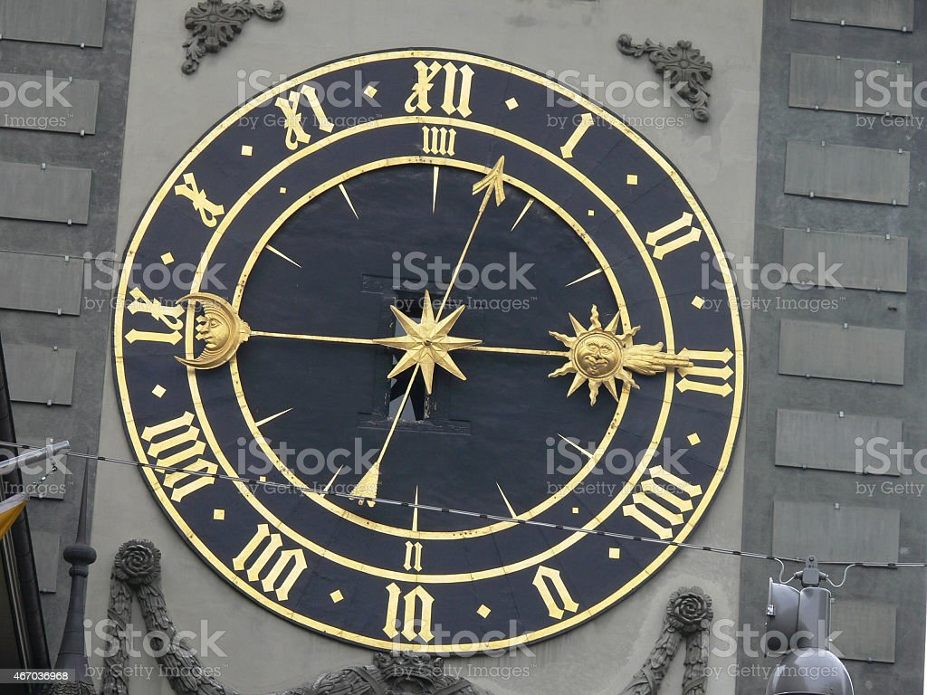 clock face, Berne Switzerland stock photo