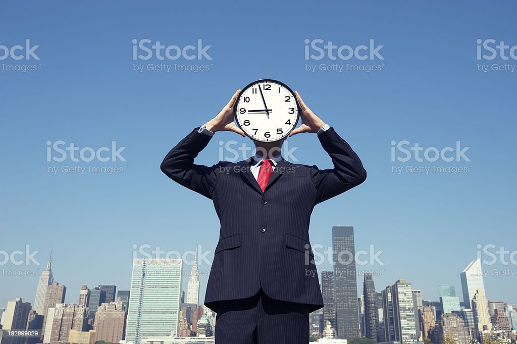 Clock Face Businessman Stands at Skyline royalty-free stock photo