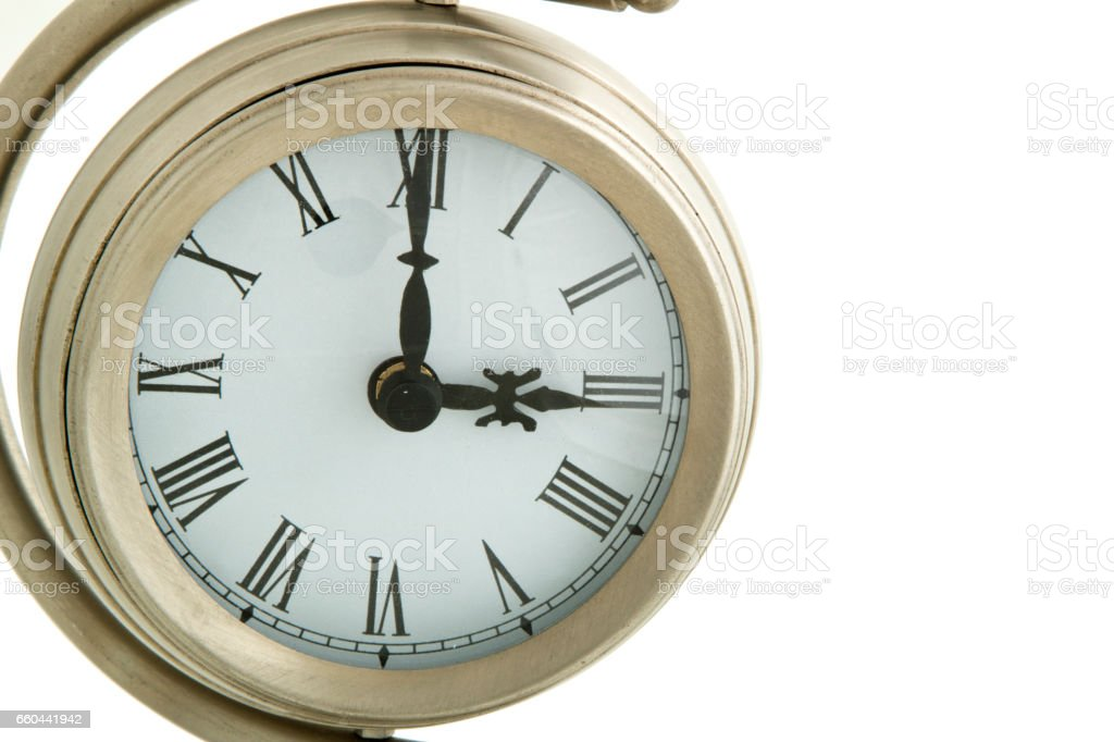 Clock Face close-up, with time showing three o'clock. stock photo