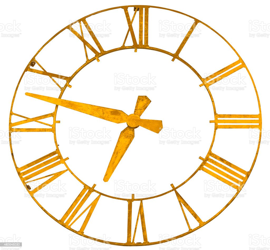 Clock face isolated white path golden watch vintage roman stock photo