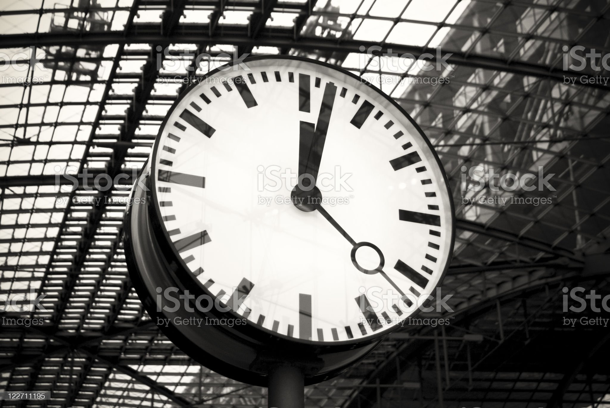 Clock face, modern architecture, black and white royalty-free stock photo