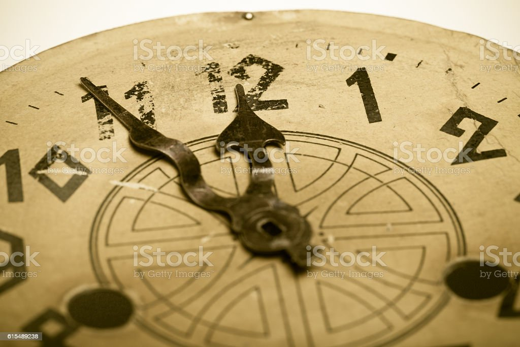 Clock face of the old clock. Selective focus stock photo