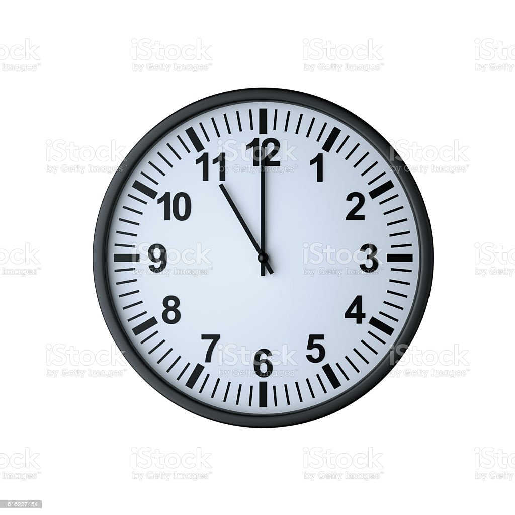 Clock face showing eleven o'clock stock photo