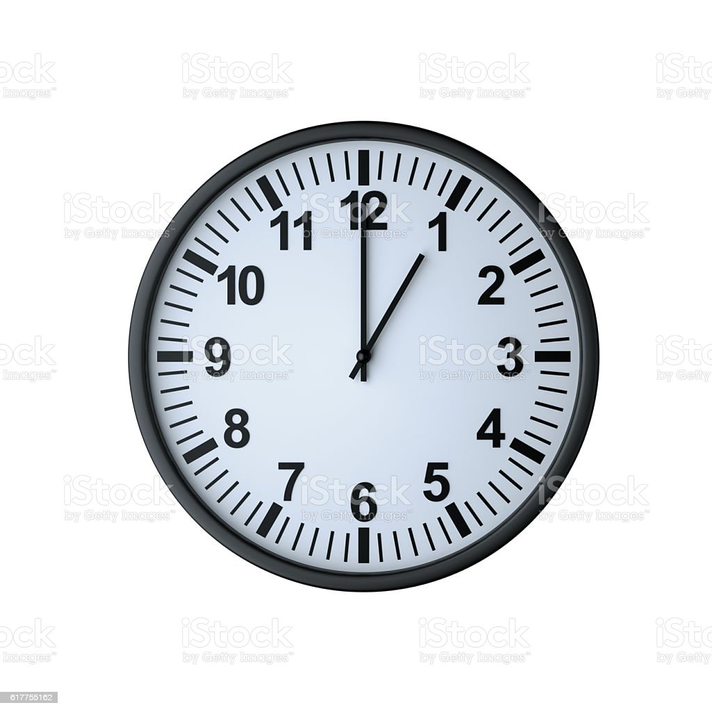 Clock face showing one o'clock stock photo