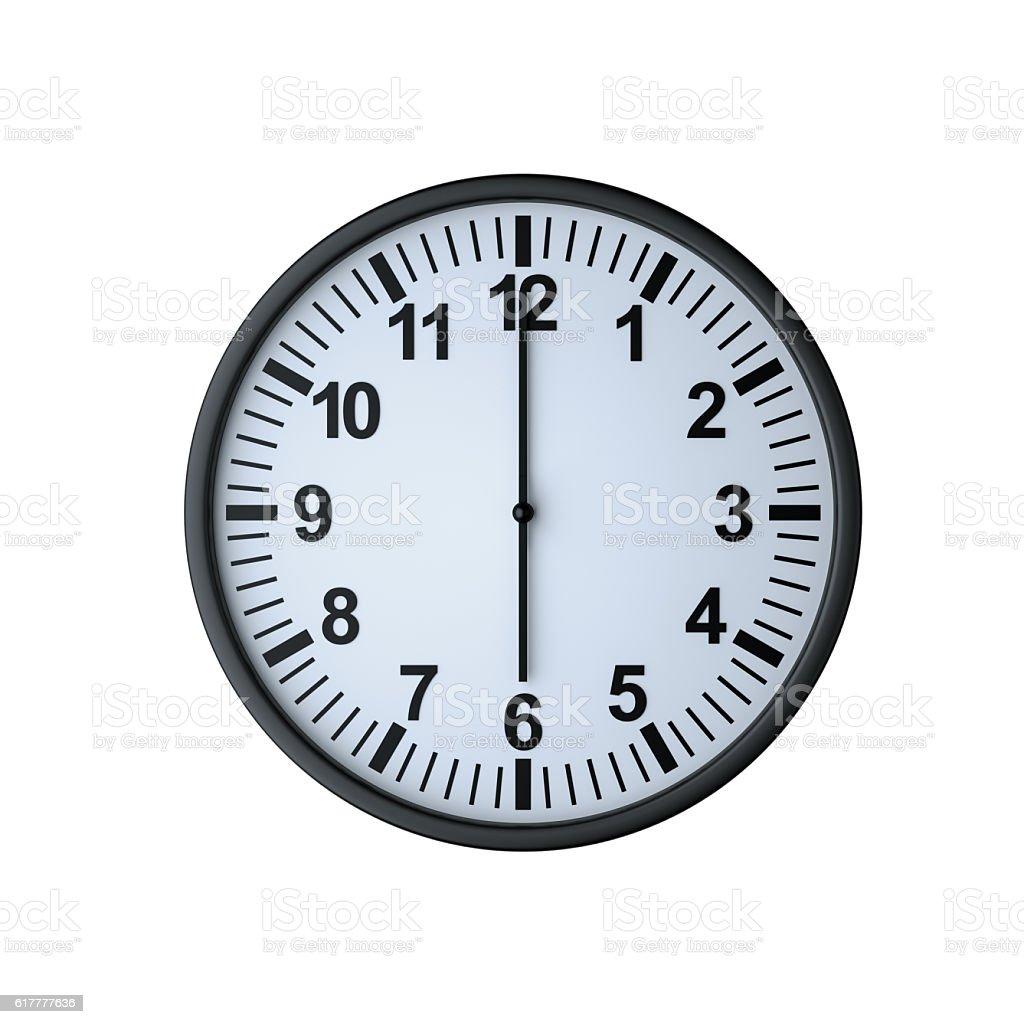 Clock face showing six o'clock stock photo