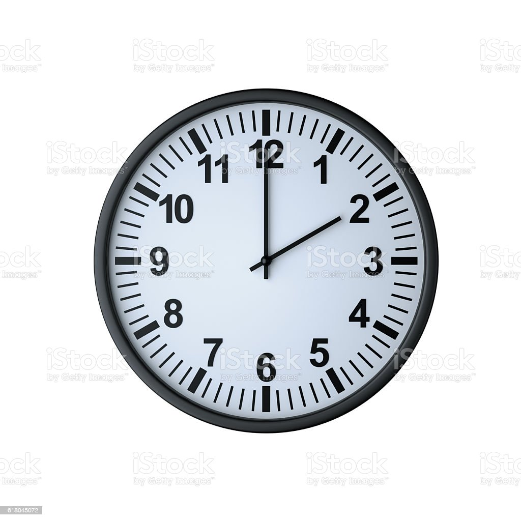 Clock face showing two o'clock stock photo