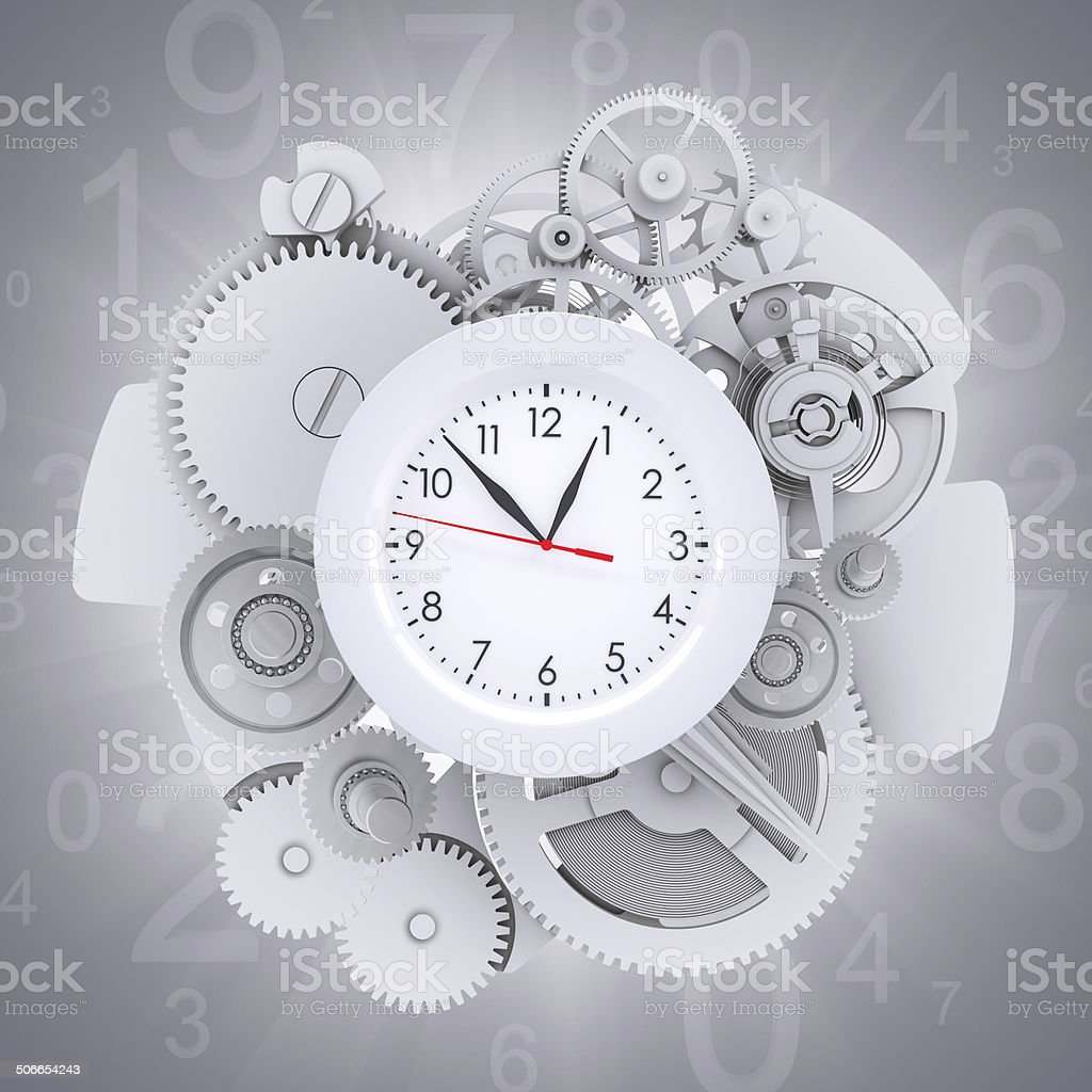 Clock face with figures and white gears stock photo