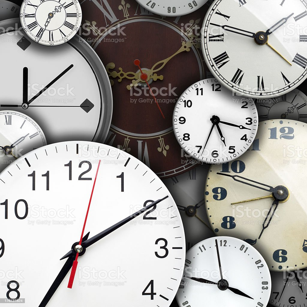 Clock faces stock photo