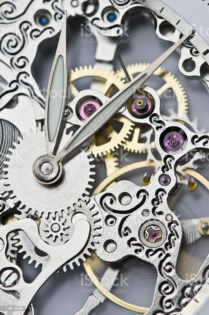 clock hands and mechanism stock photo