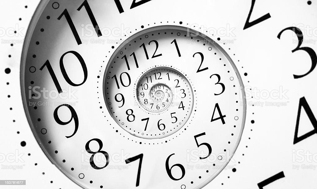 Clock in an infinite spiral stock photo