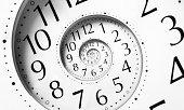 Clock in an infinite spiral
