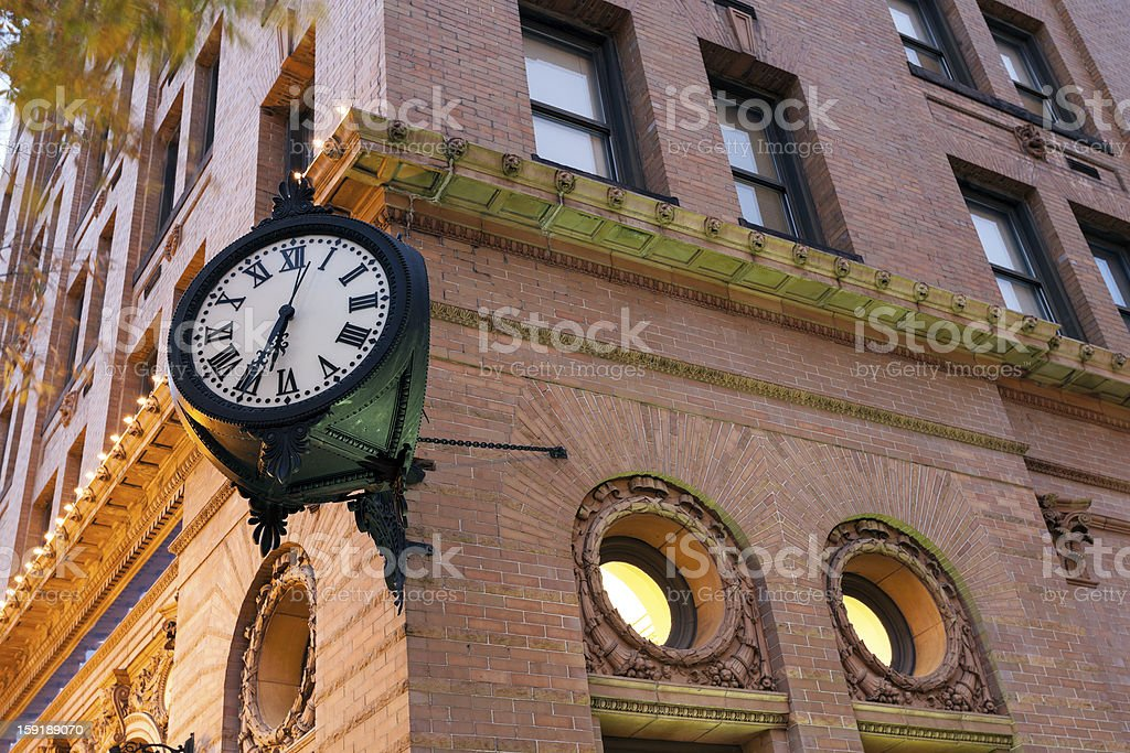 Clock in downtown of Norfolk stock photo