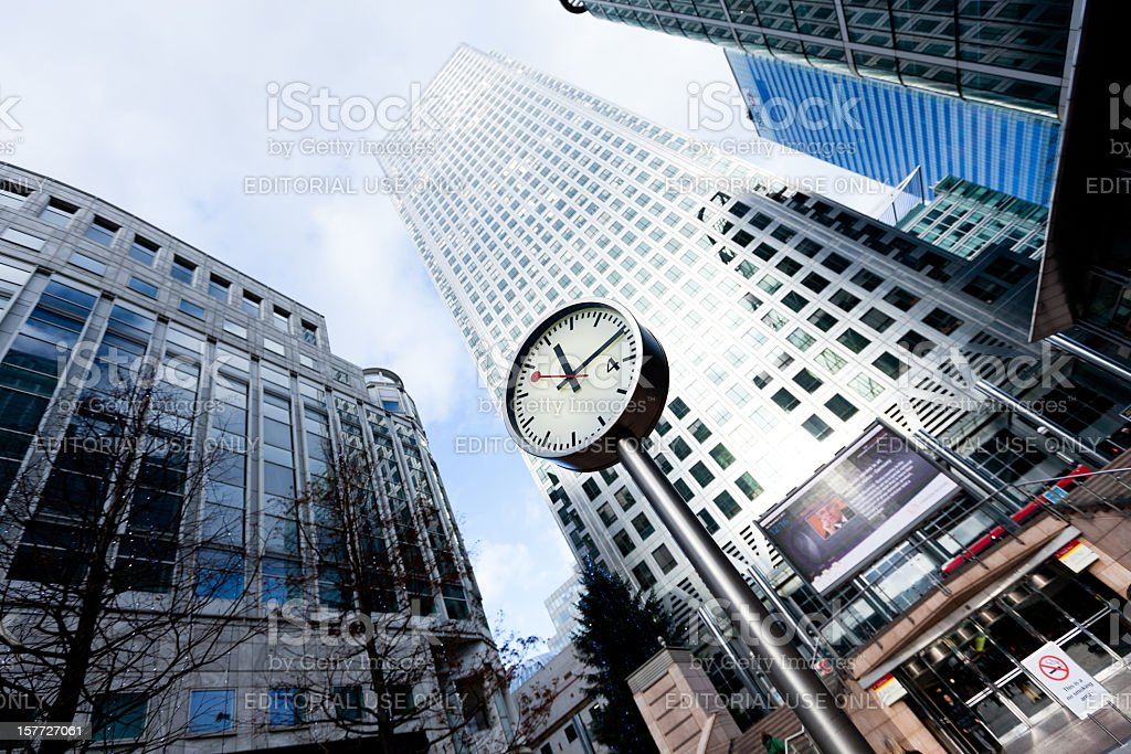 Clock in financial district of London royalty-free stock photo