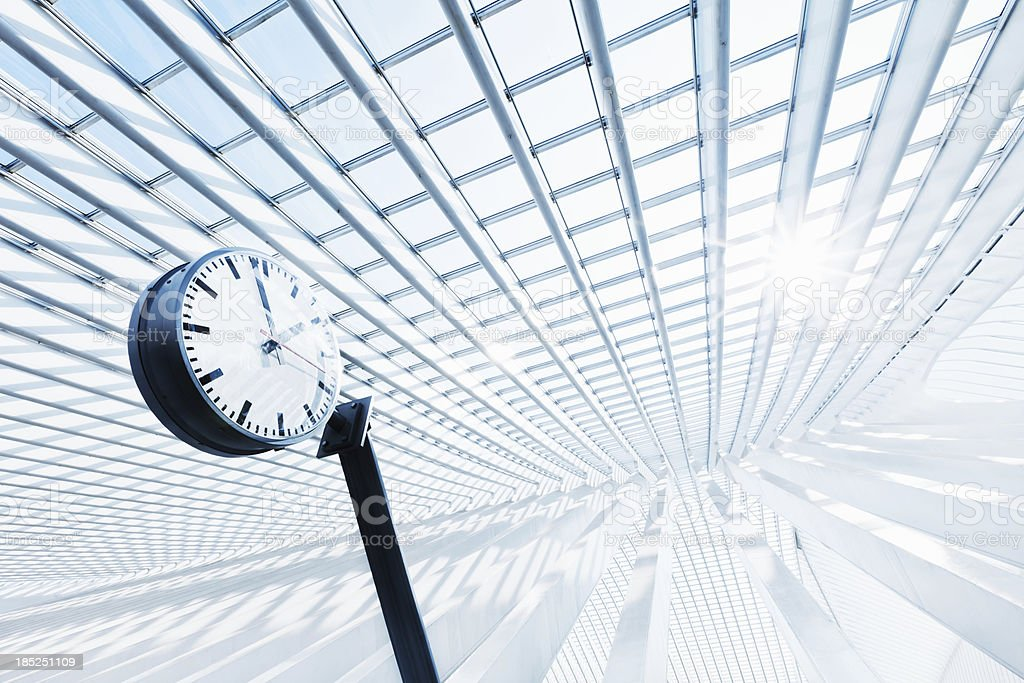 Clock in Modern Architecture stock photo
