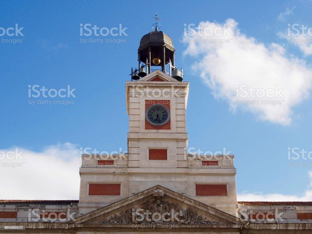 Clock in Puerta del Sol stock photo