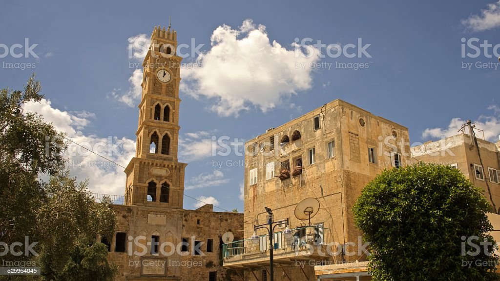 Clock in the center of Old City, Akko, Israel stock photo