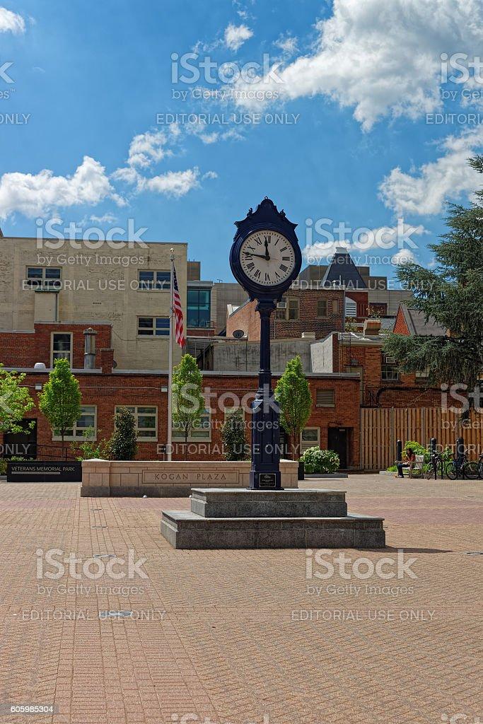 Clock in the Kogan Plaza in Washington University Campus stock photo