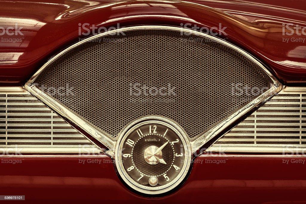 Clock inside a classic fifties car stock photo