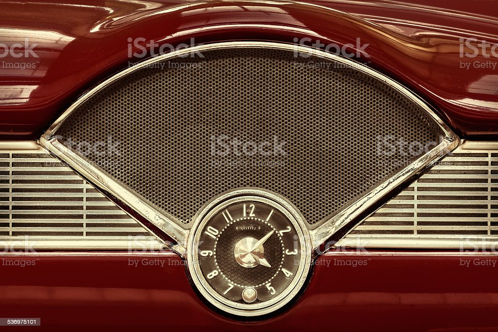 Clock inside a classic fifties car stock photo