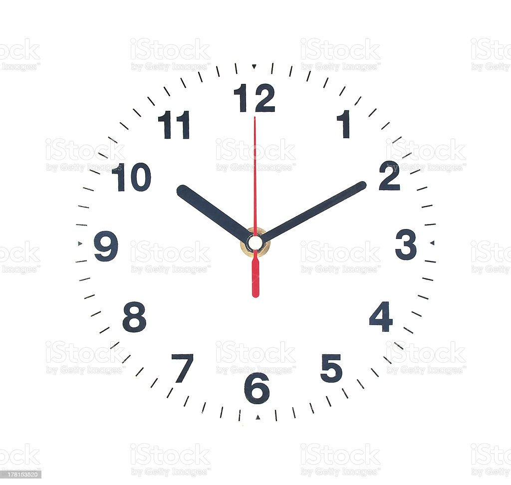 Clock isolate on white royalty-free stock photo
