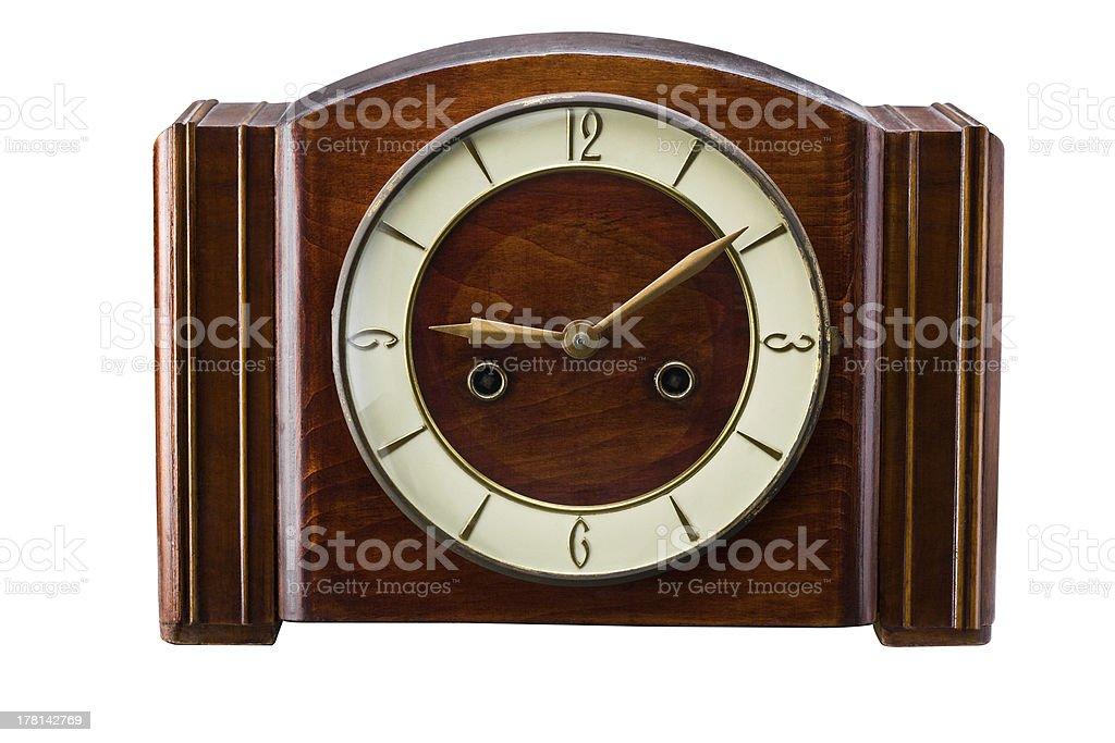 clock made of wood royalty-free stock photo