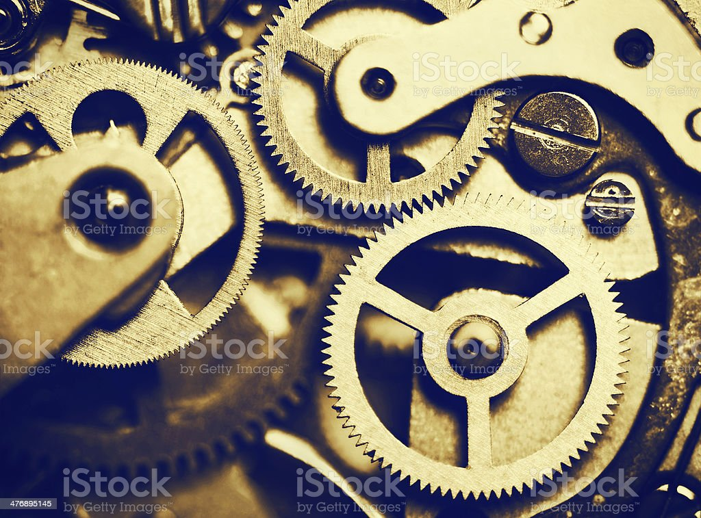 clock mechanism made in the technique of toning royalty-free stock photo