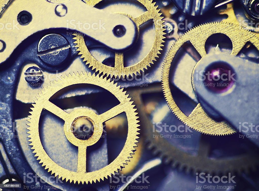 clock mechanism made in the technique of toning stock photo