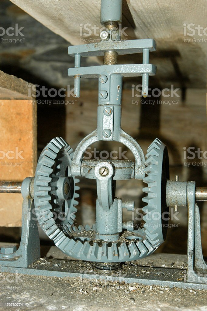 Clock mechanism of bell tower stock photo